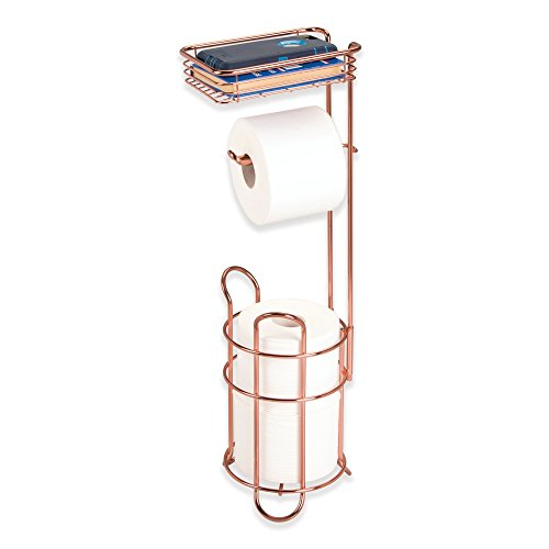 - mDesign Freestanding Metal Wire Toilet Paper Roll Dispenser Holder and Extra Roll Reserve with Storage Shelf for Cell, Mobile Phone - Bathroom Storage Organization - Holds 3 Rolls - Rose Gold