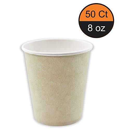 Canbo 8 oz Paper Cups, 50 Pcs in One Pack, Paper, Eco-Friendly Sturdy Disposable Hot and Cold Beverages Cups, Coffee Cups ()