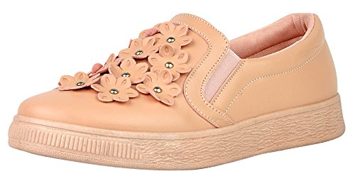 Top 6 Low Mauve US Elastic Flower Women 3D Cambridge M Select Pu 5 's Stretch Slip Flatform Black on B Fashion PU Sneaker wqFxn6SI