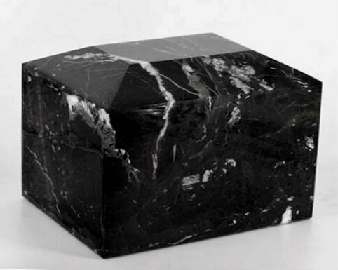 Khan Imports Black Marble Urn Vault for Ashes, Adult Stone Cremation Urn Box - - Black Large Urn