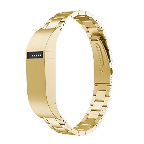 (FeiFei66 Stainless Steel Strap for Fitbit Flex Wrist Band Replacement Bracelet (Gold))