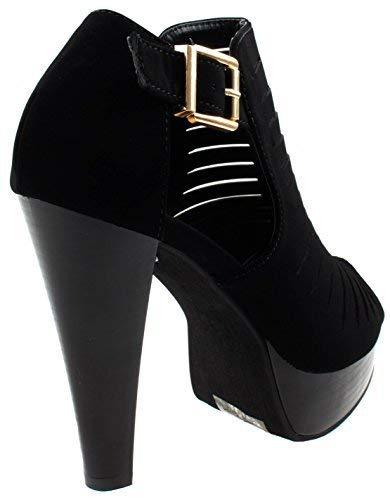 Top Moda Women's Table-6 Black Peep Toe Gladiator Bootie Platform Sandal Chunky Heel Closed Back T-Strap 7 D(M) US by Top Moda