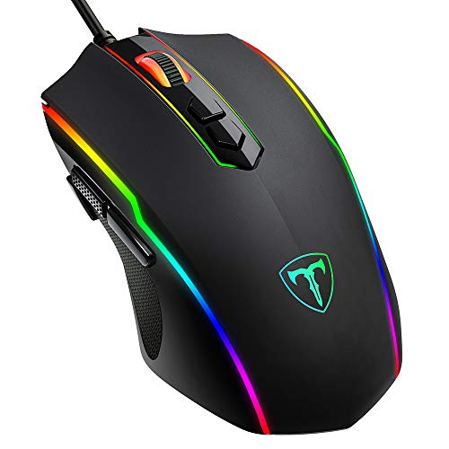PICTEK Gaming Mouse Wired, 8 Programmable Buttons, Chroma RGB Backlit, 7200 DPI Adjustable, Comfortable Grip Ergonomic Optical PC Computer Gaming Mice with Fire Button, Black (Upgraded Version) (Ps/2 Mouse Wheel)