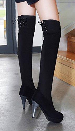 Aisun Donna Faux Suede Sexy Punta Rotonda Abito Stringato Piattaforma Stiletto Tacco Alto Sopra Gli Stivali Alti Al Ginocchio Nero