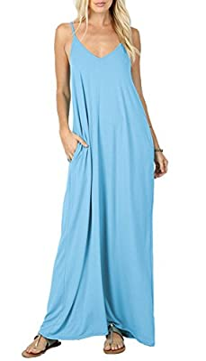 Iandroiy Women's Summer Casual Swing Pockets Sleeveless Beach Cami Maxi Dresses