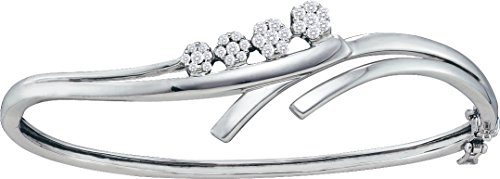 1 Total Carat Weight ROUND DIAMOND CLUSTER LADIES JOURNEY BANGLE by Jawa Fashion