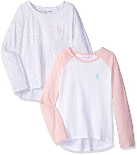 U.S. Polo Assn. Girls' Toddler 2 T-Shirt, Pack Raglan Light Grey with Colorblock Multi, 4T ()