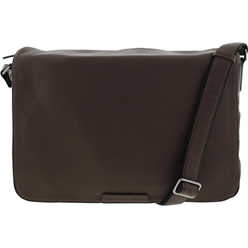 Marc by Marc Jacobs Mens Pebbled Leather Messenger Bag Brown Large