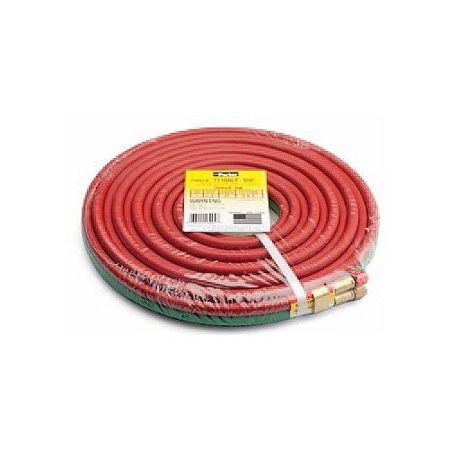 Parker Hannifin 7126NLF-300 Black EPDM Siameez Grade R Fitted Hose Assembly, Crimped B&B Brass, 25' Length, 1/4
