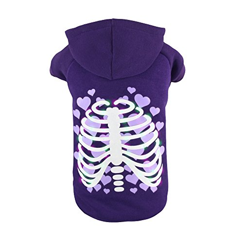 Royal Wise Pet Dog LED Light up Heart Skull Hoodie Sweater Coat T Shirt Clothes (Heart Dog Costume)