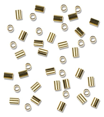(Cousin Gold Elegance 14K Gold Plate Crimp Tube, 38-Piece, 2 by 3-Inch)
