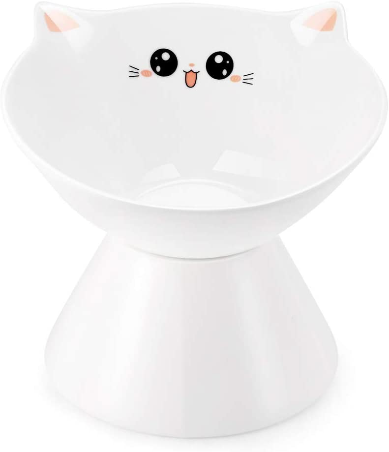 Lollimeow Ceramic Raised Cat Bowls, Elevated Food or Water Bowls, Stress Free, Backflow Prevention, Dishwasher and Microwave Safe, Lead & Cadmium Free