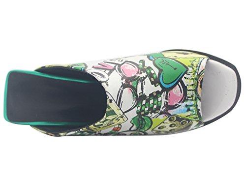 Calaier Mujer Eleourty Tacón Ancho 8CM Sintético Ponerse Sandalias de vestir Zapatos Varios colores