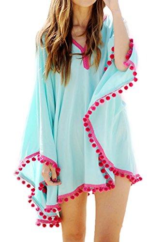 Verano De Mujer Borlas Patchwork V Cuello Túnica Bañadores Blusa Oversize Blue