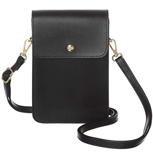 MINICAT Back Slot Series Small Crossbody Cell Phone Purse Wallet Smartphone Bags For Women(Black-RFID Blocking)
