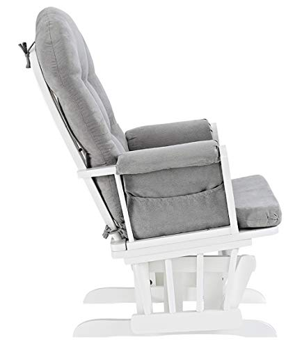 41dqkyoUfGL - Windsor Glider And Ottoman, White With Gray Cushion