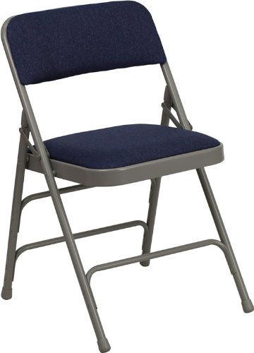 Flash Furniture HERCULES Series Curved Triple Braced & Double Hinged Navy Fabric Metal Folding Chair