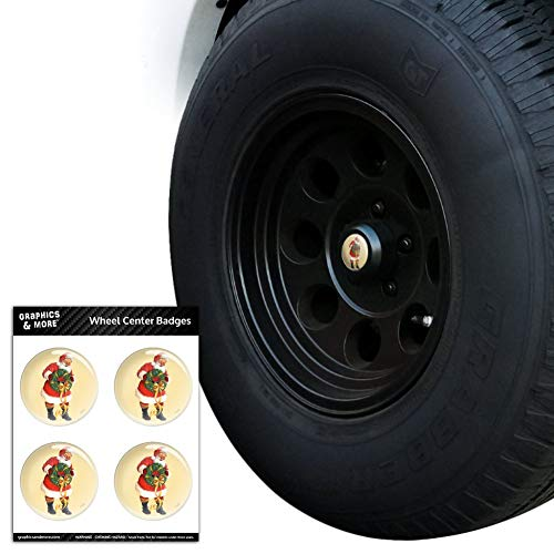 Graphics and More Christmas Holiday Santa Holding Wreath Tire Wheel Center Cap Resin-Topped Badges Stickers - 2.6