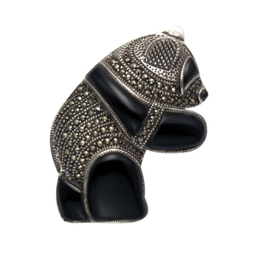 Wild Things Large Sterling Silver, Marcasite & Simulated Black Onyx Panda Pin