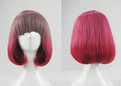 Japanese Girl Lolita Doll 30cm Grey Pink Mix Rose Pink Short Straight + Wigs Cap