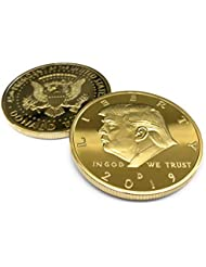 Aizics Mint Trump Coin; 2019 Donald Trump Large 24kt Gold Plated United States Eagle Commemorative Collectible Coin Certificate of Authenticity Original Design