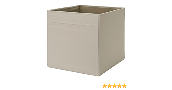 Drona caja de almacenaje Ikea 33 x 38 x 33 cm de tela plegable lados unidad de almacenamiento, beige, 33 x 38 x 33cm: Amazon.es: Hogar
