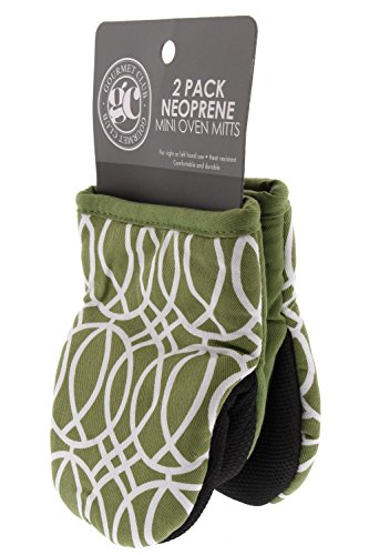 - Gourmet Club Mini Oven Mitts w/Neoprene for Easy Gripping, Heat Resistant up to 500 Degrees F, Ornament Sage - 2pk