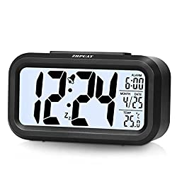 [Upgrade Version] ZHPUAT 4.6 Smart Backlight Alarm Clock with Dimmer (Black)