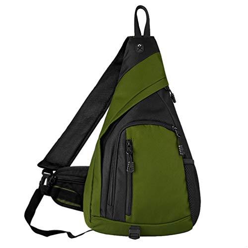 Sling Bag, Men Mens Sling Crossbody Backpack Breathable Light Chest Bag Leather Tactical Shoulder Bags Packs Day Pack Spacious Daypack Cross Body for Women Men Waterproof Sports Travel Bag USB Green L