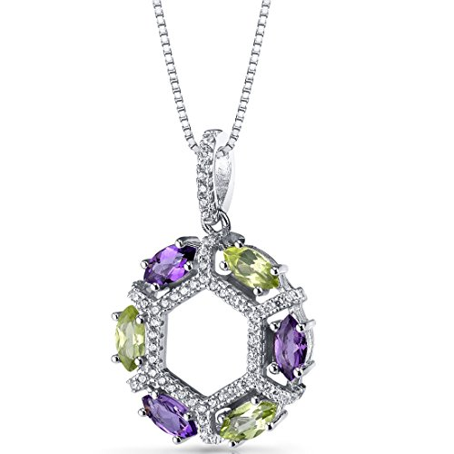 - Amethyst and Peridot Hexagon Pendant Necklace Sterling Silver 1.5 Carats