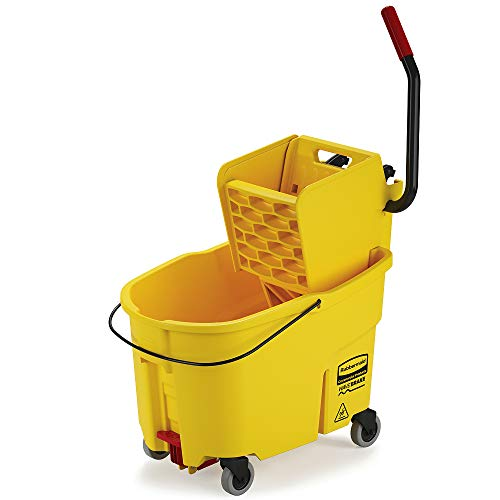 Rubbermaid Commercial WaveBrake 2.0 44 QT Side-Press Mop Bucket and Wringer with Foot Drain, Yellow (FG618688YEL)