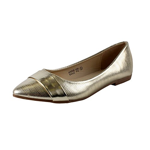 Bella Marie Angie-106 Women's pointy toe boat slip on patent band decor patent leather flats Gold 6