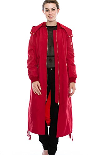 Daisy Women's Zipper Pocket Detail Hooded Long Waterproof Jacket. (L, RED) (Daisies Raining)