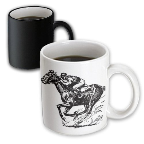 3dRose mug_26013_3 Jocky and Horse Racing Magic Transforming Mug, 11-Ounce