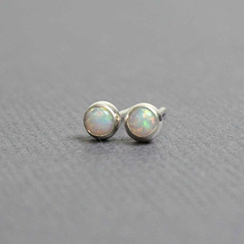Tiny Opal Stud Earrings, Small 3mm Lab Opal Post Earrings, Sterling Silver