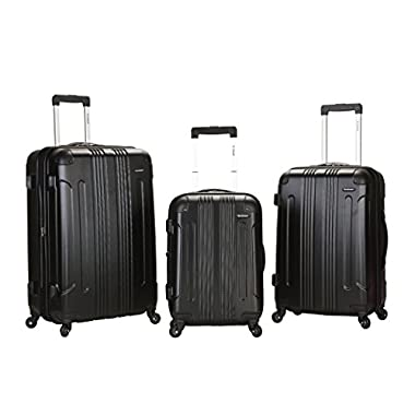 Rockland Luggage 3 Piece Abs Upright Luggage Set, Black, Medium