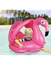 LOYO Baby Flamingo Swim Float with Removable Sunshade - Inflatable Seat Boat Swimming Ring Summer Pool Loungers Water Toys for Age 12-60 Month Infant Toddler Kids Children