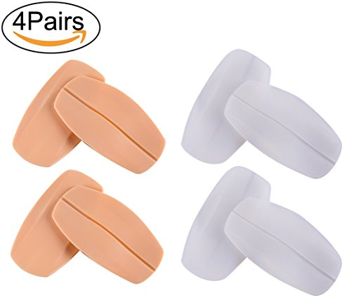 Penta Angel 4 Pairs Bra Cushion Pads Bra Strap Holder Silicone Non-Slip Reusable Shoulder Protectors Pads, Beige and (Angels Bras)