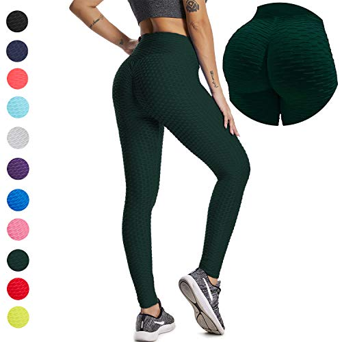 YOFIT Women Ruched Butt Yoga Pants Lifting Leggings High Waisted with Pockets Sport Tummy Control Gym Peacock Green S