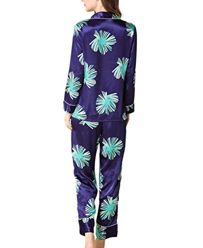 cuello Pecho Conjunto Moda Manga Un Pijama Primavera Estampadas Dormir Otoño De Batas Azul Mujer Noche Larga Pantalones Ropa Elegante V Solo W76I4qP8