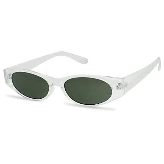 21a478c307f Amazon.com  90 s Super Retro Small Narrow Oval Horn Rimmed Rectangular  Sunglasses (Clear Frame