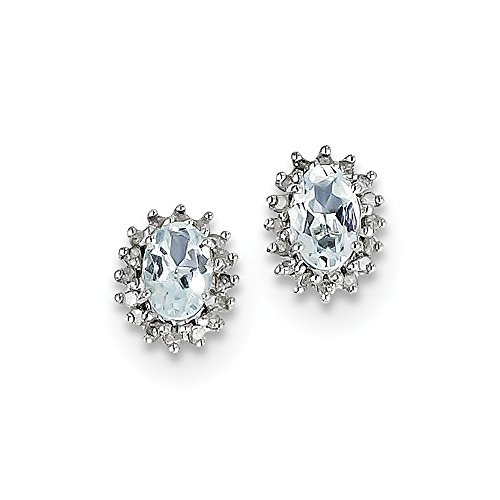 Sterling Silver Rhodium Plated Diamond Aquamarine Post Earrings by CoutureJewelers