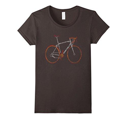 [Women's Bicycle Amazing anatomy tshirt - cool tshirt for cyclist Medium Asphalt] (Bicycle Womens T-shirt)