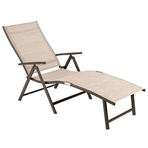 OUMAN Tumbona, Silla de jardín Ajustable, Tumbona Plegable de Aluminio, Ligera, Estable para terraza, balcón, Camping, Festival, Beige