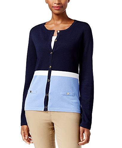 Karen Scott Petite Colorblocked Cardigan (Intrepid Blue, PM)