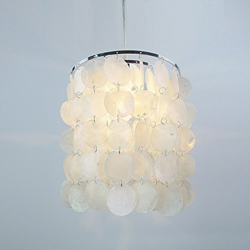 Round Capiz Seashell Rain Drop Pendant Lamp, Natural White Shell Pendant Lamp Shades For Ceiling,Diameter 23 Hight 26cm (Capiz Light Pendant)