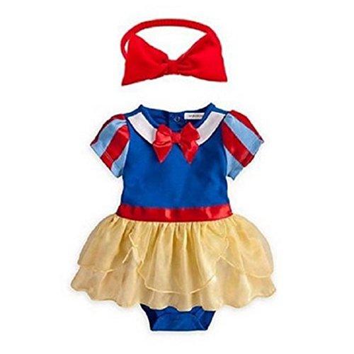Neal LINK Newborn Romper Snow White Inspired Photo Prop Baby Girl Dress Costume Headband (80/6-12 Months) ()