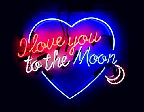 Mirsne 24'' by 24'' I love you to the Moon Neon signs, glass tube neon open sign, custom made neon beer sign, unique neon sign art, supplied for a wide range of personal and commercial uses.