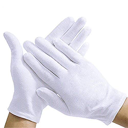Lizoyona White Soft 100% Cotton Thicker for Home Working Coin Jewelry Silver Inspection Formal Marching Band Parade CD/DVD, Handling Gloves Extra Large Length (Medium)