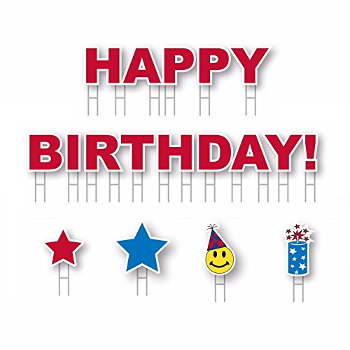 Yard Card Happy Birthday! Boy or Girl All-Weather 18pc Greeting Sign Kit, Red